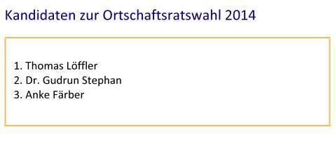 Kandidatenliste Ortschaftsrat 2014