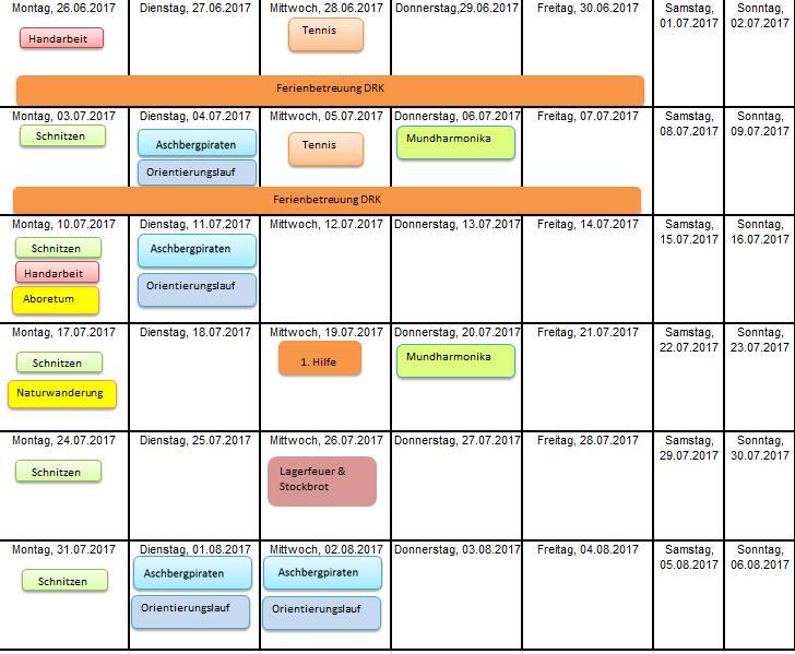 Ferien(S)pass-Kalender